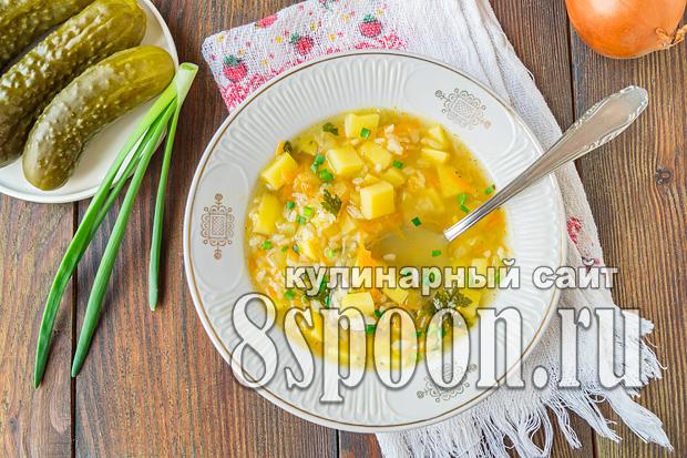 Рассольник с рисом и солеными огурцами рецепт  _05