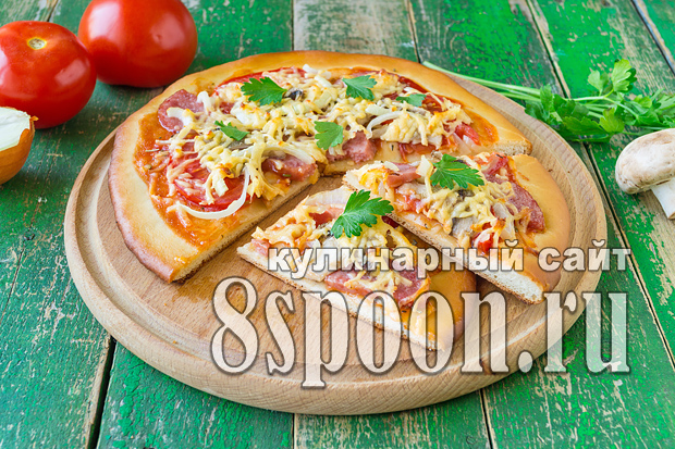 рецепт пиццы грибы ветчина