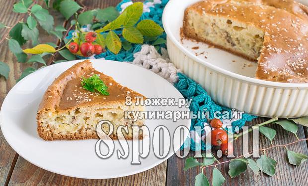 Пирог на кефире с рыбными консервами