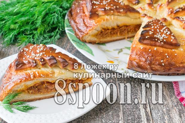 Пирог с капустой из дрожжевого теста фото 1