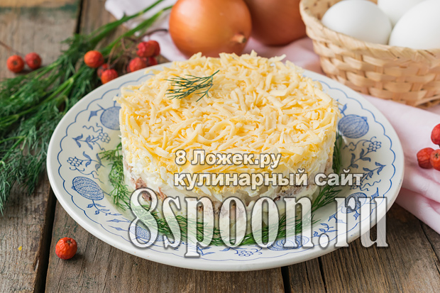 Салат из скумбрии консервированной