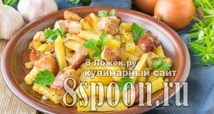 Жареная картошка с мясом на сковороде фото_02