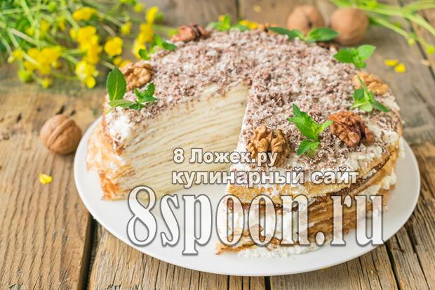 Блинный торт с творожным кремом фото_02