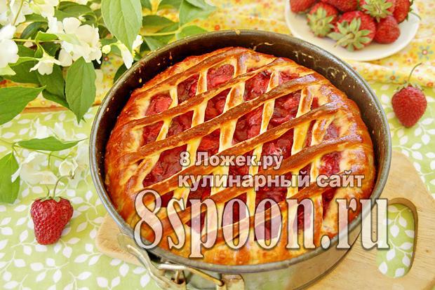 Пирог из дрожжевого теста с клубникой фото_10