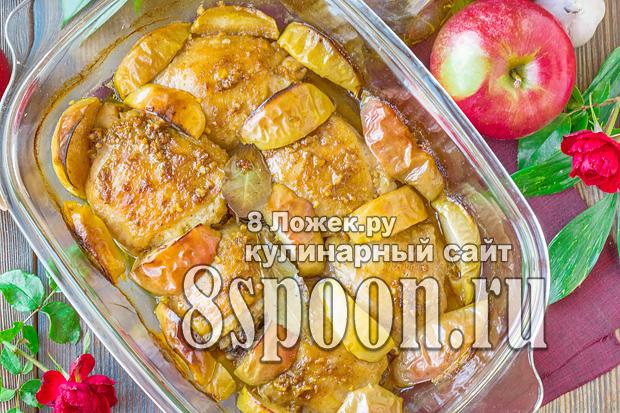 Курица с яблоками в духовке фото_2