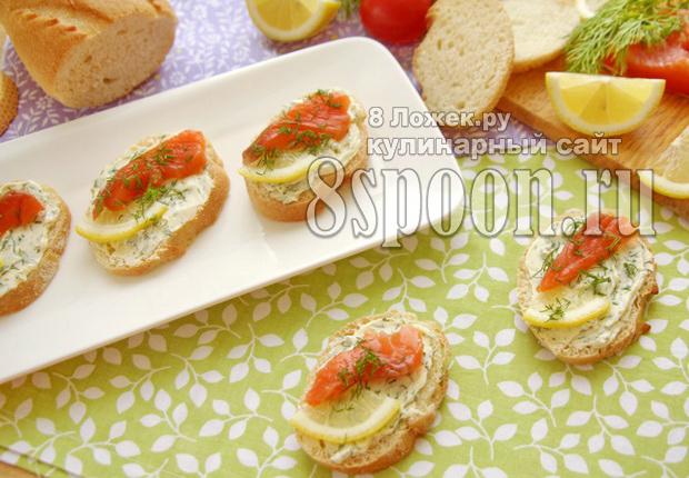 Бутерброды с семгой и зеленым маслом фото, фото рецепт бутербродов с семгой